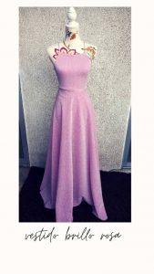 vestido brillo rosa
