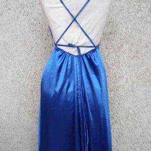 vestido satin escote espalda