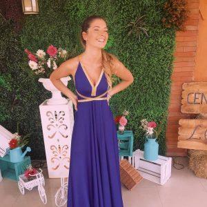 vestido azul lazos dorados